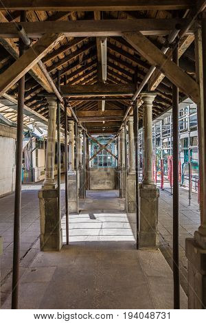 Old Architecture: Arcades Inside A Gallery Of Bolhao Market In Porto, Portugal
