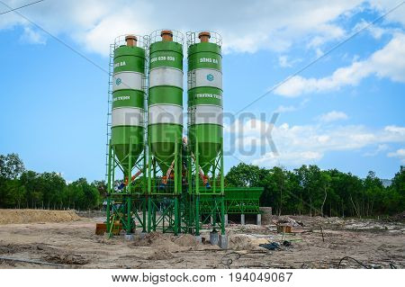 Group Of Processing Silos Of A Concrete Factory