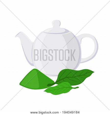 Green tea - asian drink. Teapot, leaves of matcha tea, teakettle. Made in vector cartoon flat style