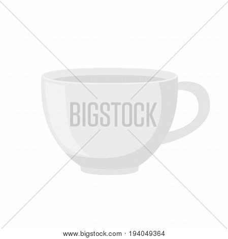 White tea cup in cartoon flat style. Container for tea or coffee. Vector illustration