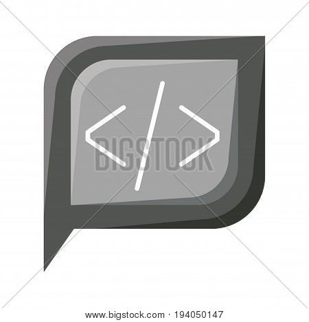 grayscale silhouette dialogue square with tail with angle brackets symbol vector illustration