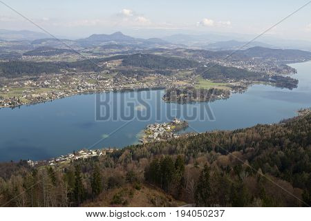 View of Woerthersee lake and Maria Worth from Pyramidenkogel