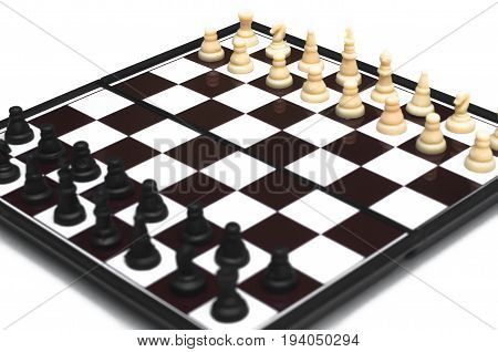 Chess board isolated on white background. Beginning of chess game.