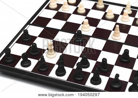 Checkmate concept.. Child checkmate on chess board.
