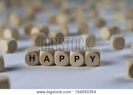 Happy - Cube With Letters, Sign With Wooden Cubes