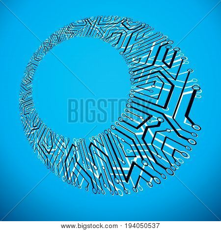 Vector abstract technology illustration with circuit board. High tech digital scheme of electronic device. Technology microchip abstract background with clear copy space.