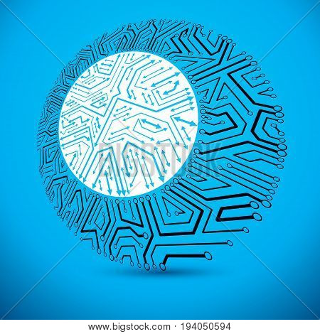 Vector microchip design cpu. Information communication technology element circuit board in round shape with arrows.