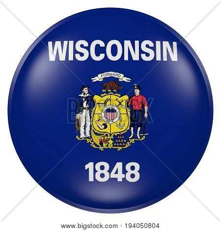 Wisconsin State Flag Button