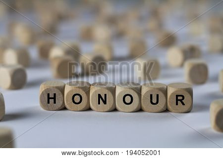 Honour - Cube With Letters, Sign With Wooden Cubes