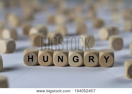 Hungry - Cube With Letters, Sign With Wooden Cubes