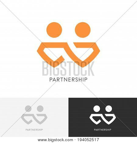 Partnership business logo - two partners work together, chain or infinity symbol. Company, cooperation and teamwork vector icon.