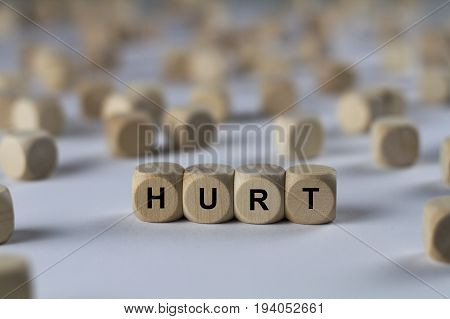 Hurt - Cube With Letters, Sign With Wooden Cubes