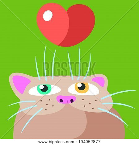 Cat in Love. Vector Illustration. Valentine's Day. Funny Cartoon Cool Character. Flat Digital Drawing Cute Character. Green Background. Cheerful Fur Pet for Postcard Web Icons and Shirt.