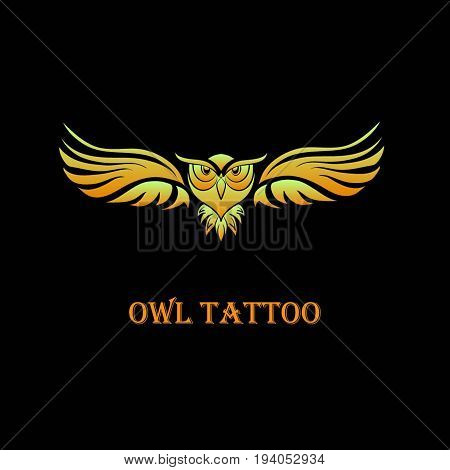 isolated gold owl in flight - vector illustration