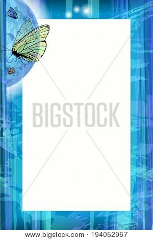 Photo frame summer. Vector illustration for your design. Blue sky and butterflies under the moon. Vertical sheet orientation