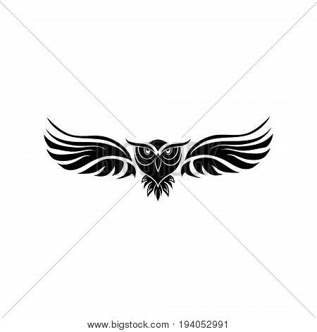 isolated black owl in flight - vector illustration