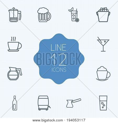 Set Of 12 Drinks Outline Icons Set.Collection Of Coffeepot, Coffee, Wine Cask And Other Elements.