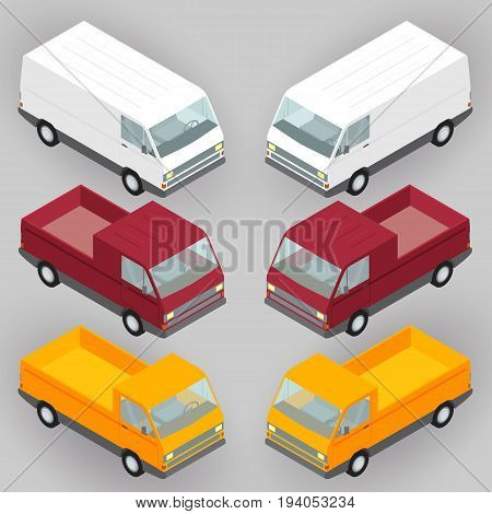 Isometric delivery vans, trucks set, vector illustration. Flat vehicle mini van, trailer side view. Cargo land delivery transportation concept.