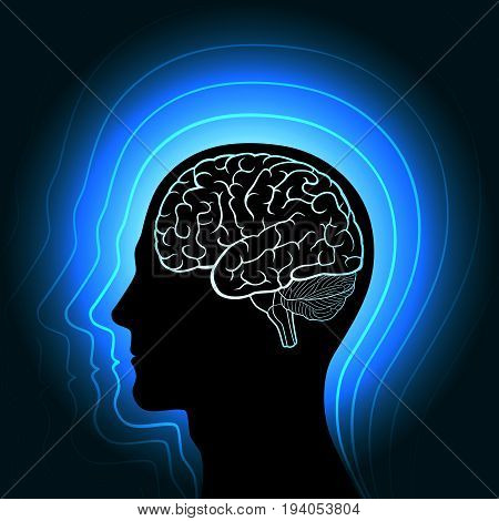 A human head with a glowing outline of the brain and radiating from her in waves