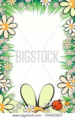 Photo frame summer. Vector illustration for your design. Ladybugs, insects on the grass with daisies. Vertical sheet orientation