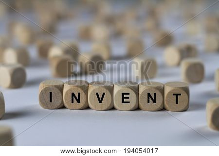 Invent - Cube With Letters, Sign With Wooden Cubes