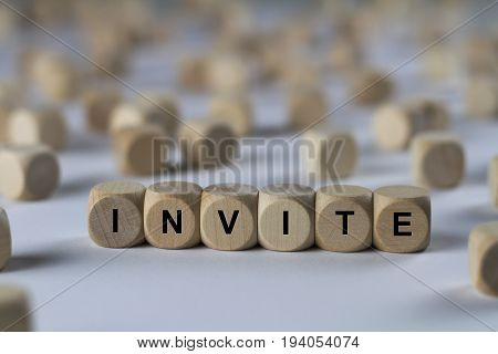 Invite - Cube With Letters, Sign With Wooden Cubes