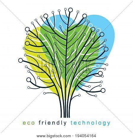 Vector illustration of tree in the shape of heart created with wireframe and lines connected as branches. Environment conservation theme.