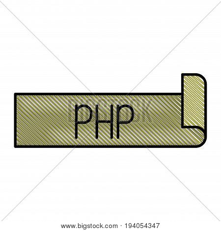 colored pencil silhouette label text of php vector illustration