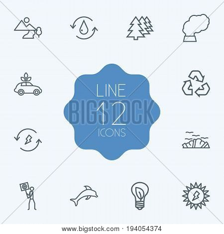 Set Of 12 Atmosphere Outline Icons Set.Collection Of Afforestation, Garbage, Pollution And Other Elements.
