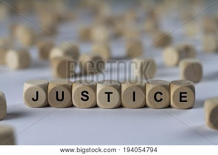 Justice - Cube With Letters, Sign With Wooden Cubes