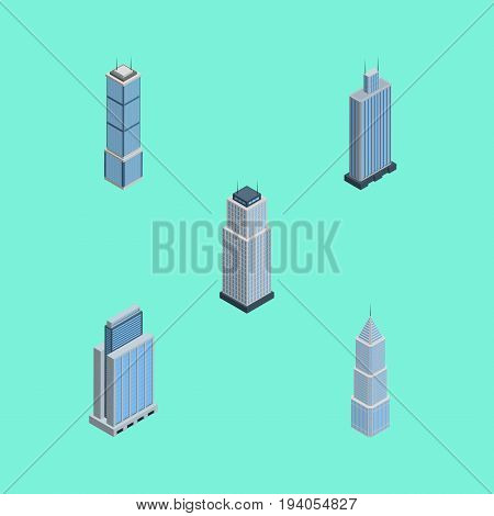 Isometric Building Set Of Tower, Exterior, Urban And Other Vector Objects. Also Includes Tower, Residential, Building Elements.