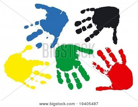 Prints of hands of the child, 2,5 years (vector illustration)