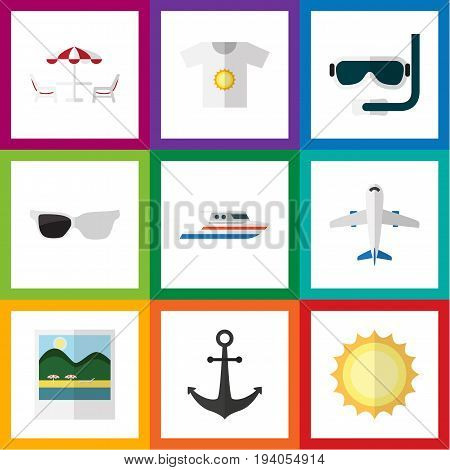 Flat Icon Summer Set Of Scuba Diving, Reminders, Recliner And Other Vector Objects. Also Includes Aircraft, Sun, Hook Elements.