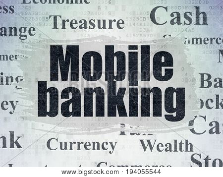 Currency concept: Painted black text Mobile Banking on Digital Data Paper background with   Tag Cloud