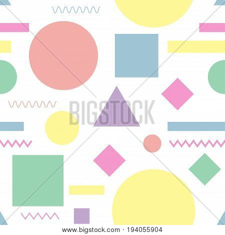 Seamless pattern. Geometric design texture. Simple colorful shapes for brochure cover textbook notebook schoolbook etc. Vector illustration.