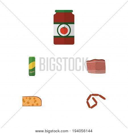 Flat Icon Eating Set Of Cheddar Slice, Beef, Bratwurst And Other Vector Objects. Also Includes Pasta, Sausage, Food Elements.