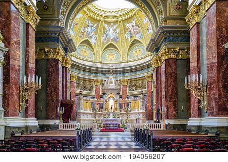 BUDAPEST HUNGARY - MAY 5: Interior of St. Stephen's Basilica on May 5 2017 in Budapest