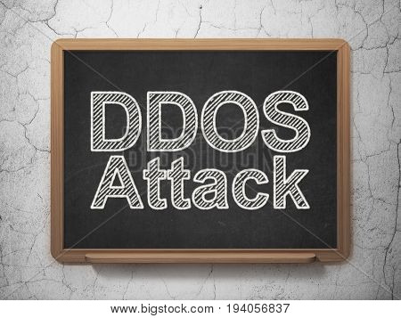 Security concept: text DDOS Attack on Black chalkboard on grunge wall background, 3D rendering