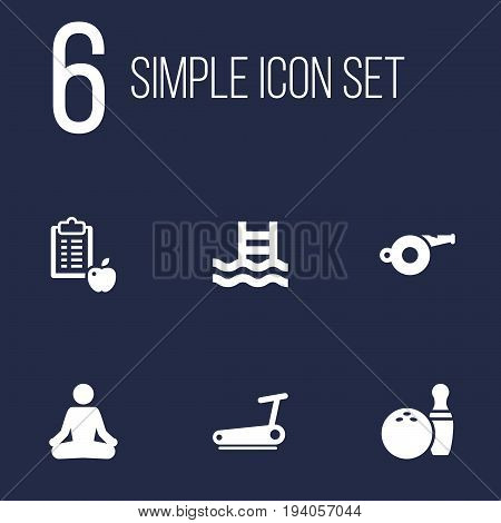 Set Of 6 Training Icons Set.Collection Of Treadmill, Basin, Kegling And Other Elements.