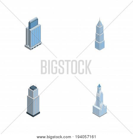 Isometric Skyscraper Set Of Urban, Tower, Cityscape And Other Vector Objects. Also Includes Tower, Residential, Building Elements.