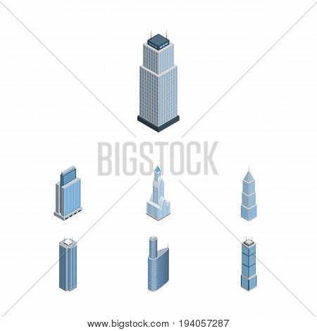 Isometric Construction Set Of Skyscraper, Cityscape, Tower And Other Vector Objects. Also Includes Apartment, Tower, Center Elements.