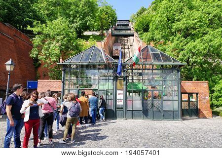 BUDAPEST HUNGARY - MAY 6: Castle hill funicular called Budavari siklo at backround on May 6 2017 in Budapest