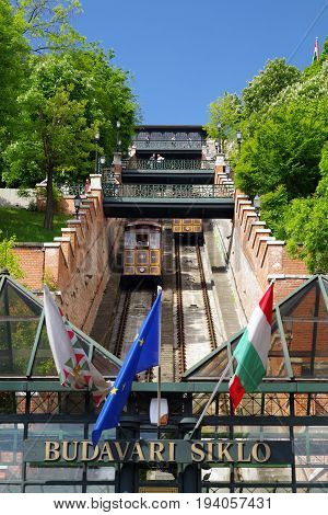 BUDAPEST HUNGARY - MAY 6: Castle hill funicular called Budavari siklo on May 6 2017 in Budapest