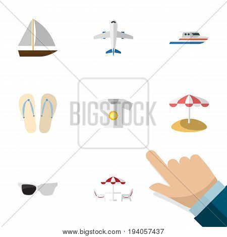 Flat Icon Beach Set Of Aircraft, Spectacles, Clothes And Other Vector Objects. Also Includes Sun, Plane, Spectacles Elements.