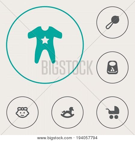 Set Of 6 Kid Icons Set.Collection Of Smock, Girl, Pram And Other Elements.