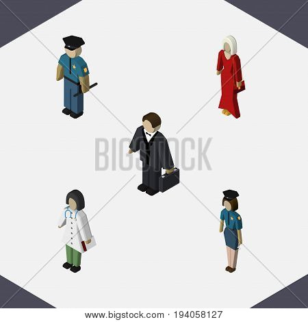 Isometric People Set Of Female, Investor, Doctor And Other Vector Objects. Also Includes Investor, Doctor, Nurse Elements.