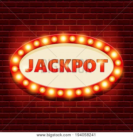 Jackpot retro banner template with lightbulb glowing. Casino billboard background. Vintage style. Vector illustration for gambling club, web game.
