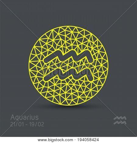 Aquarius zodiac sign in circular frame, vector Illustration. Contour icon.