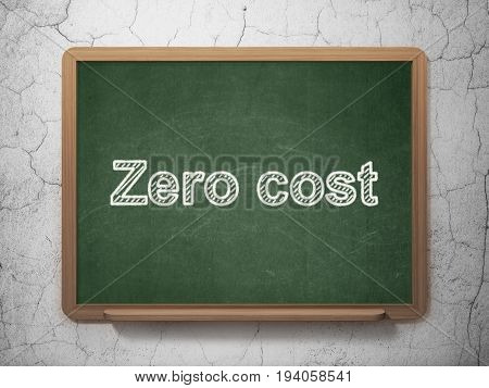 Business concept: text Zero cost on Green chalkboard on grunge wall background, 3D rendering