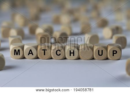 Match Up - Cube With Letters, Sign With Wooden Cubes